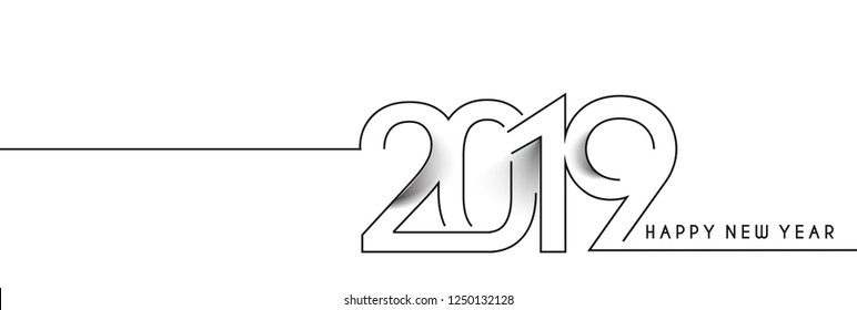 Happy New Year 2019 text design, Vector