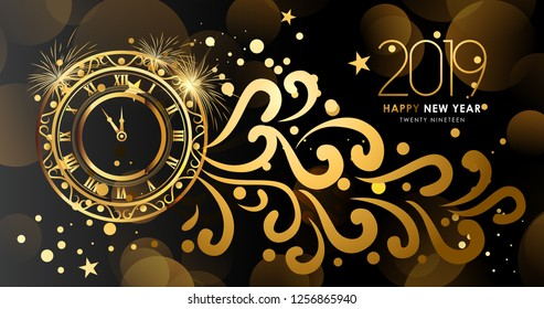 Happy New Year 2019 text design. Vector greeting illustration with abstract bokeh and lens flare pattern and with gold clock and glitter. EPS10