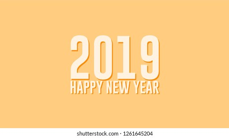 Happy New Year 2019 text design. Vector greeting illustration. Flat Design.  Eps10