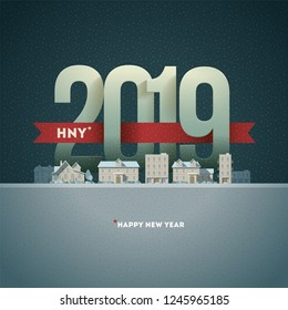Happy New Year 2019 in town. Vector greeting card design element. Elements are layered separately in vector file.