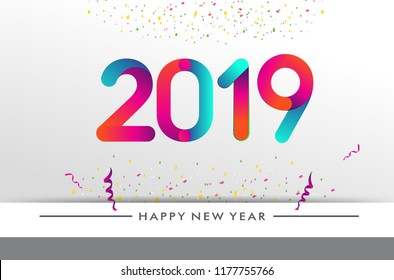 Happy new year 2019 typography vector design for greeting cards and poster with balloon, confetti, design template for new year celebration.