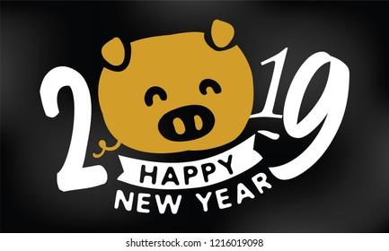Happy New Year 2019. Typography logo vector design.