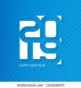 Happy New Year 2019. Vector greeting card with halftone gradient. Cover of business diary for 2019. Vector brochure design template.