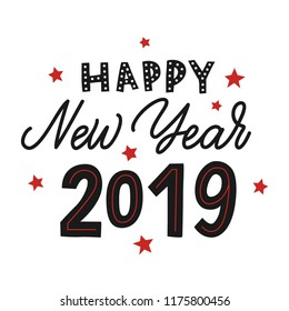 Happy new year 2019. Vector black hand lettering with red stars.