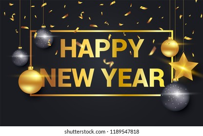 Happy new year 2019 vector illustration with golden ornaments isolated on black background