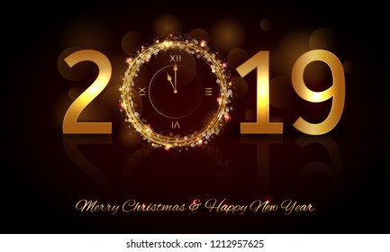 Happy New Year 2019 - Vector New Year background with gold clock on shining black background