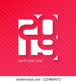 Happy New Year, 2019. Vector greeting card with halftone gradient. Cover of calendar or business diary for 2019. Vector brochure design template.