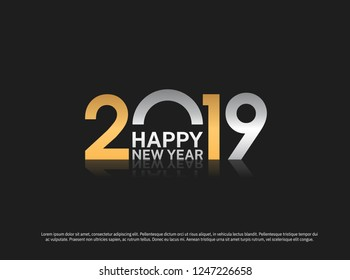 Happy New Year 2019 vector design silver and golden color combination for holiday greeting card, invitation, calendar poster, banner