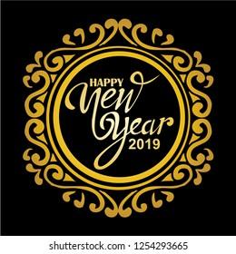 happy new year 2019, vector
