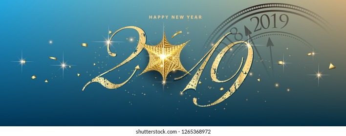 happy new year 2019 vector greeting card and poster design with clock and star. - Vector - Vector - Vector
