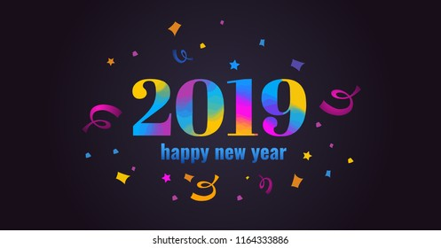 Happy new year 2019. Vibrant colorful vector illustration with  serpentine and confetti on dark background