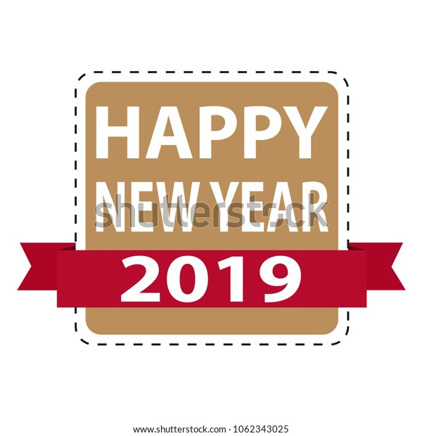 Happy New Year 2019 Web Button With Ribbon - Vector Illustration