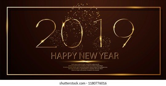 Happy New Year 2019 winter holiday greeting card design template. Party poster, banner or invitation gold glittering stars confetti glitter decoration. Vector background for happy new year