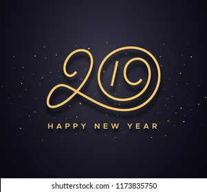 Happy New Year 2019 wishes typography text and gold confetti on luxury black background. Premium vector illustration with lettering for winter holidays