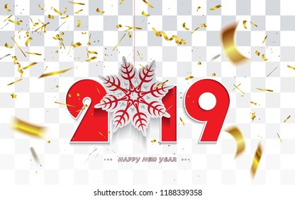 Happy New Year 2019,Christmas card with snowflake and golden transparent confetti isolated on a checkered background