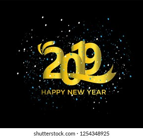 Happy new year 2019.Gold number, particles background, vector illustration