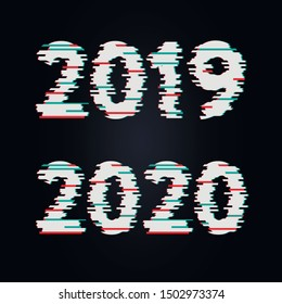 Happy New Year 2020 2019 Text Design glitch, Vector illustration.