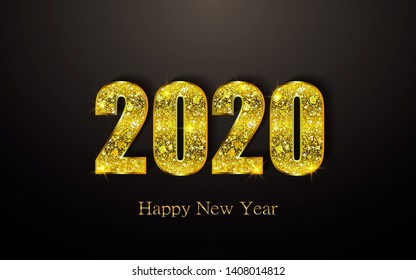 Happy New Year 2020. Background with golden sparkling texture. Gold Numbers 20, 2, 0, 02. Light effect. Vector Illustration for holiday greeting card, invitation, calendar poster banner