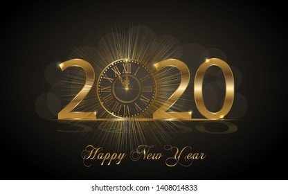 Happy New Year 2020. Background with golden sparkling texture. Gold Numbers 20, 2, 0, 02 with golden clock.. Vector Illustration for holiday greeting card, invitation, calendar poster banner