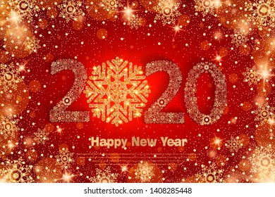 Happy New Year 2020. Background with golden sparkling texture snowflake. Patina Gold Numbers 20, 2, 0, 02. Bright foil surface. Vector Illustration for holiday greeting card, invitation, calendar
