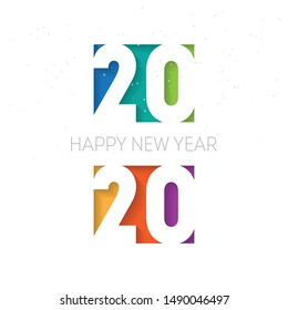 Happy new year 2020 background. Vector brochure or calendar cover design template. Cover of business diary for 20 20 with wishes. The art of cutting paper.