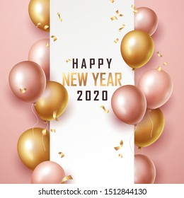 Happy new year 2020 background with floating party balloons. Vector illustration