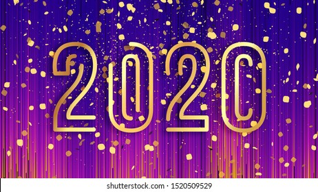 Happy New Year 2020 background, vector illustration. Purple, orange, yellow stripes background, gold confetti flying in the air, 2020 sign  made of gold numbers, evening gala luxury glam card.