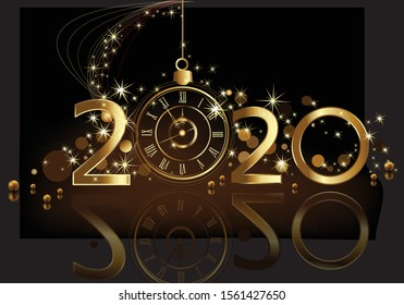 Happy New Year 2020 background, gold and black with clock