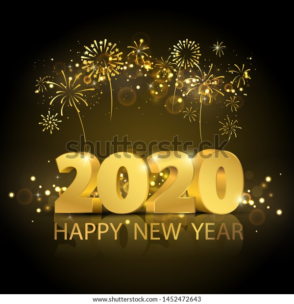 Happy New Year 2020 Background Greeting Stock Vector