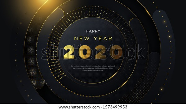 Happy new year 2020 background, with fancy design and 3D