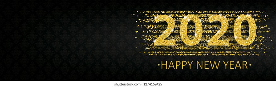 Happy new year 2020 banner with golden sand and ornaments. Eps 10 vector file.