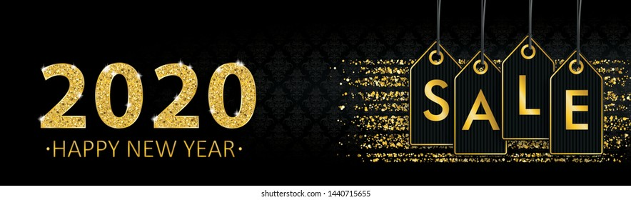 Happy new year 2020 banner with price stickers with the text Sale. Eps 10 vector file.