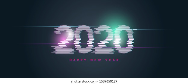Happy new year 2020 banner with glitch style typography vector illustration