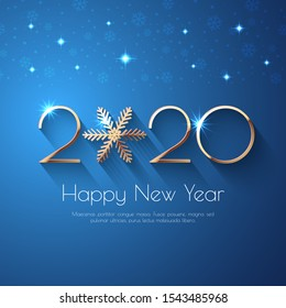 Happy New Year 2020 Blue Greeting Background. Vector illustration with golden numbers and snowflakes, lights