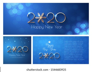 Happy New Year 2020 Blue Greeting Card or Banner Templates. Three formats of illustration with golden numbers and snowflake