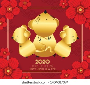 Happy new year 2020. Chinese new year greetings card, Year of the rat