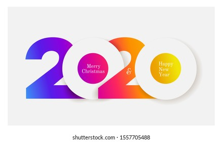 Happy New Year 2020 colored logo text design. Cover of business diary for 2020 with wishes. Brochure design template, card, banner. Colorful vector illustration. Isolated on white background.