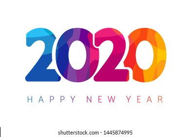 Happy New Year 2020 colorful facet logo text design. Cover of business diary for 2020 with wishes. Brochure design template,  Xmas card, sale banner. Vector Christmas illustration on white background