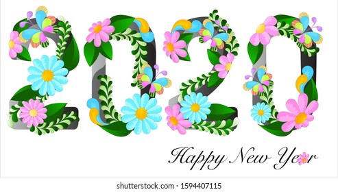 Happy New Year 2020, colorful flowers