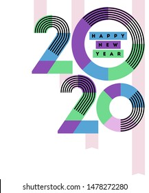 Happy New Year 2020 design. Multicolored abstract numbers with stripes and ribbons isolated on white background. Elegant vector illustration in retro style