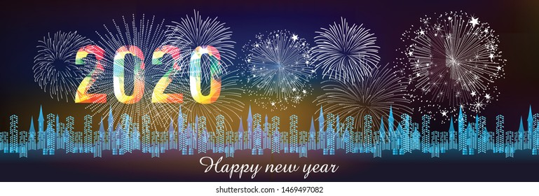 Happy New Year 2020 with firework background.