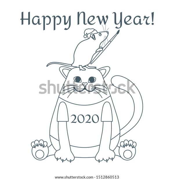 Happy New Year 2020 Funny.Happy New Year 2020 Funny Cartoon Stock Vector Royalty Free