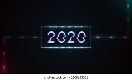 Happy New Year 2020. Glitch and Neon Glowing Design in Dark Background. Vector New Year Holiday Illustration.