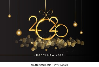 Happy New Year 2020 with glitter isolated on black background, text design gold colored, vector elements for calendar and greeting card.