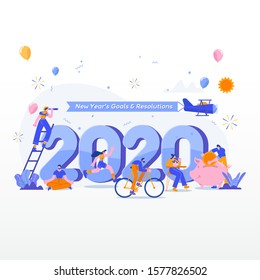 Happy new year 2020. Goals and resolutions 2020 concept illustration. tiny people having fun with their goals in 2020. suitable for web, banner, poster and landing page.