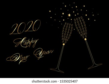Happy New Year 2020 gold Wine Glass Toasting Design, vector isolated on black background. Golden Drink luxury celebration of new year. Vector party alcohol decoration