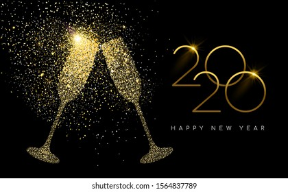 Happy new year 2020 gold champagne glass celebration toast made of realistic golden glitter dust. Ideal for holiday card or elegant party invitation.