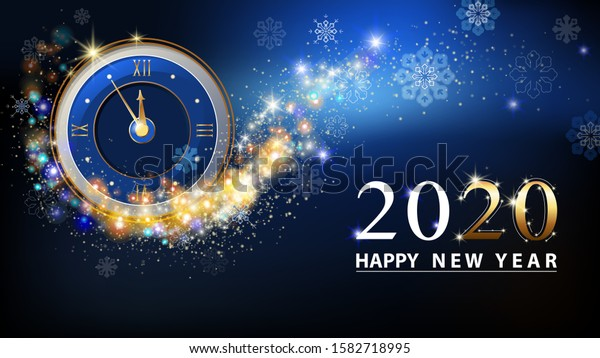 Happy New Year 2020, gold figures. The glowing gold and blue clock counted down five minutes at midnight. Dark blue background, stars and snowflakes.Elements for calendar and greeting card, white text