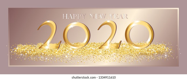 Happy New Year 2020 in golden luxury with glitter texture on pink gold background,Text 2020 in Gold shining and sparkling with glitter confetti,Design for flyers, invitation, posters, brochure, banner