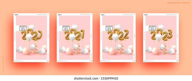 Happy New Year 2020. Golden number 2020 to 2023. Background realistic gold balloons. Object render 3d ballon with ribbon. Celebrate party Poster, banner, Set cover card, brochure, flyer, layout design